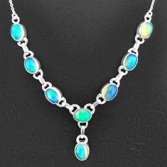16.00cts natural multi color ethiopian opal 925 sterling silver necklace t2936