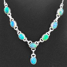 16.07cts natural multi color ethiopian opal 925 sterling silver necklace t2937