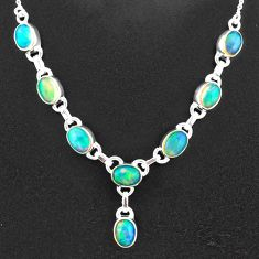 16.65cts natural multi color ethiopian opal 925 sterling silver necklace t2939