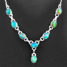 16.35cts natural multi color ethiopian opal 925 sterling silver necklace t2940