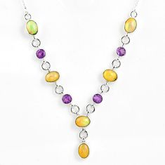 13.94cts natural multi color ethiopian opal amethyst 925 silver necklace r59482