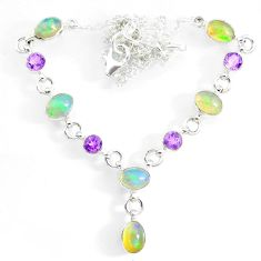 15.43cts natural multi color ethiopian opal amethyst 925 silver necklace r73108
