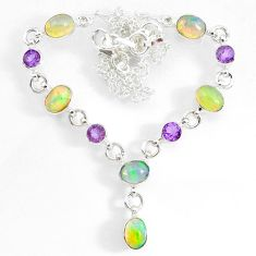 15.91cts natural multi color ethiopian opal amethyst 925 silver necklace r73115