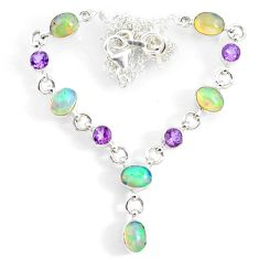 15.91cts natural multi color ethiopian opal amethyst 925 silver necklace r73116
