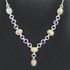 16.65cts natural multi color ethiopian opal amethyst 925 silver necklace t2943