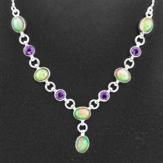 17.16cts natural multi color ethiopian opal amethyst 925 silver necklace t2951