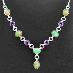 16.65cts natural multi color ethiopian opal amethyst 925 silver necklace t2958