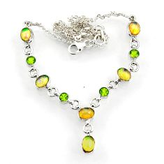 16.84cts natural multi color ethiopian opal peridot 925 silver necklace d44539