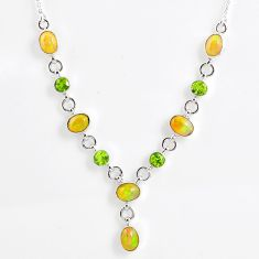 13.96cts natural multi color ethiopian opal peridot 925 silver necklace r59486