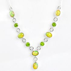 14.23cts natural multi color ethiopian opal peridot 925 silver necklace r59487