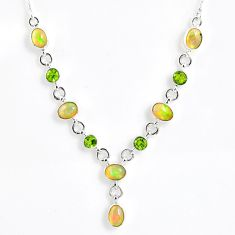 13.96cts natural multi color ethiopian opal peridot 925 silver necklace r59491