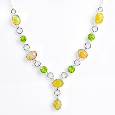 14.24cts natural multi color ethiopian opal peridot 925 silver necklace r59495
