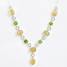 14.27cts natural multi color ethiopian opal peridot 925 silver necklace r59499