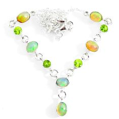 15.16cts natural multi color ethiopian opal peridot 925 silver necklace r73105