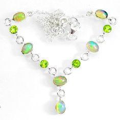 15.16cts natural multi color ethiopian opal peridot 925 silver necklace r73111