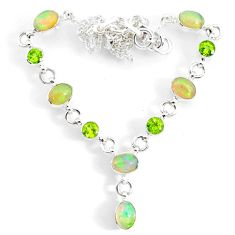 15.91cts natural multi color ethiopian opal peridot 925 silver necklace r73117