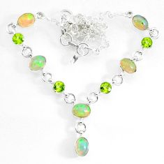 15.64cts natural multi color ethiopian opal peridot 925 silver necklace r73119