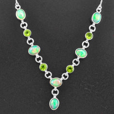 17.54cts natural multi color ethiopian opal peridot 925 silver necklace t2941