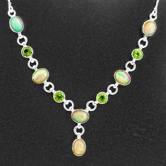 16.84cts natural multi color ethiopian opal peridot 925 silver necklace t2954