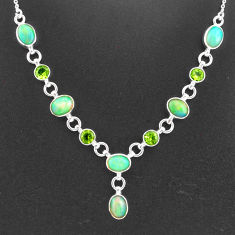 16.65cts natural multi color ethiopian opal peridot 925 silver necklace t2955