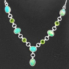 16.62cts natural multi color ethiopian opal peridot 925 silver necklace t2960
