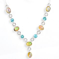 14.27cts natural multi color ethiopian opal topaz 925 silver necklace r59481