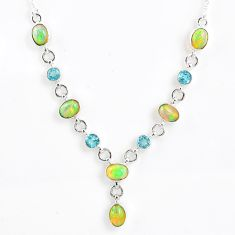 14.27cts natural multi color ethiopian opal topaz 925 silver necklace r59489
