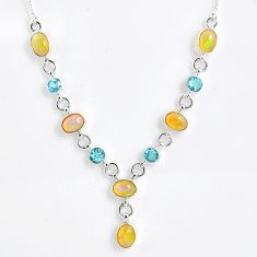 14.27cts natural multi color ethiopian opal topaz 925 silver necklace r59496