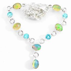 16.18cts natural multi color ethiopian opal topaz 925 silver necklace r73102