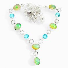 15.62cts natural multi color ethiopian opal topaz 925 silver necklace r73104