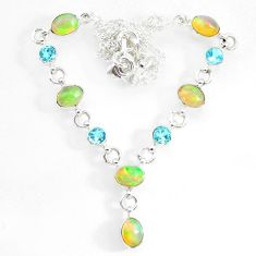 15.91cts natural multi color ethiopian opal topaz 925 silver necklace r73107