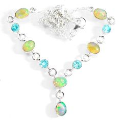 15.47cts natural multi color ethiopian opal topaz 925 silver necklace r73109