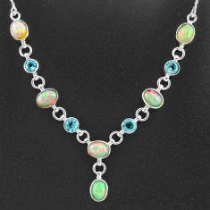 16.83cts natural multi color ethiopian opal topaz 925 silver necklace t2942
