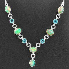 16.83cts natural multi color ethiopian opal topaz 925 silver necklace t2947