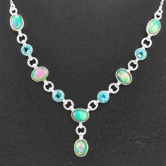 16.87cts natural multi color ethiopian opal topaz 925 silver necklace t2949