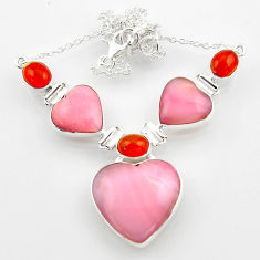 40.36cts natural opal heart cornelian (carnelian) 925 silver necklace r52325