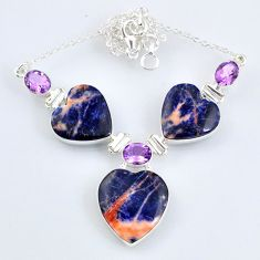 53.67cts natural orange sodalite amethyst 925 sterling silver necklace r58701
