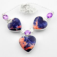 52.95cts natural orange sodalite heart amethyst 925 silver necklace r52339