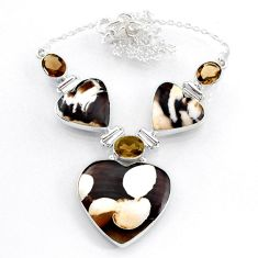 54.08cts natural peanut petrified wood fossil 925 silver heart necklace r71621