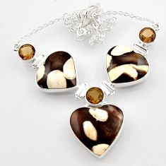 49.46cts natural peanut petrified wood fossil heart 925 silver necklace r52331
