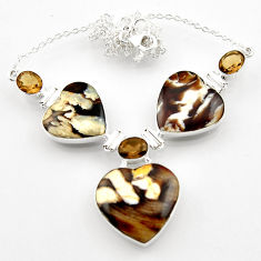 54.00cts natural peanut petrified wood fossil heart 925 silver necklace r52332