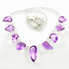 52.33cts natural pink amethyst 925 sterling silver necklace jewelry d47239