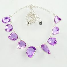 62.29cts natural pink amethyst 925 sterling silver necklace jewelry d47378