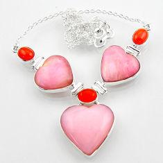 57.88cts natural pink opal cornelian (carnelian) heart silver necklace r52321