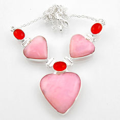 41.84cts natural pink opal heart cornelian 925 silver necklace jewelry r52324