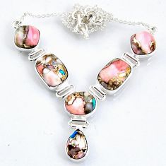 27.80cts natural pink opal in turquoise 925 sterling silver necklace r56068