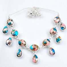 64.19cts natural pink opal in turquoise 925 sterling silver necklace r56118