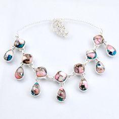 59.85cts natural pink opal in turquoise 925 sterling silver necklace r56120