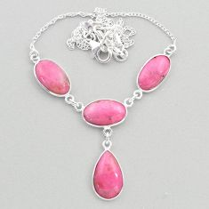 24.38cts natural pink petalite 925 sterling silver necklace jewelry t45280