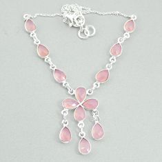 19.99cts natural pink rose quartz 925 silver necklace jewelry t34116